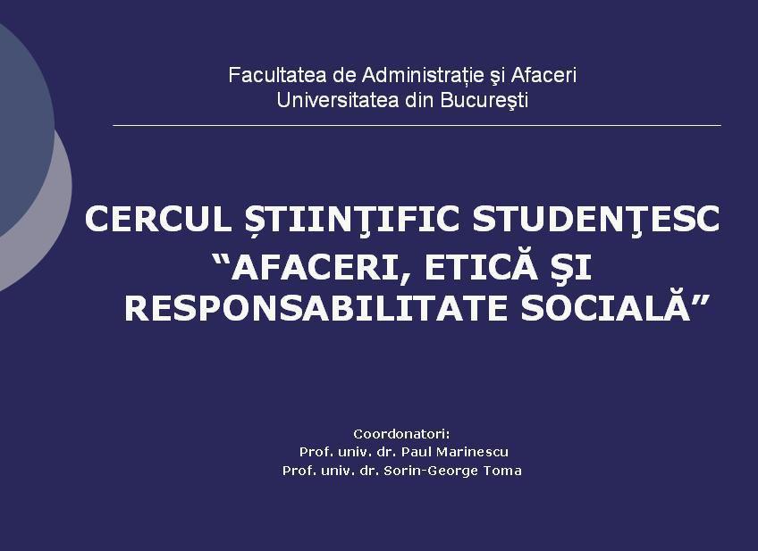 """Campanie de Crăciun inițiată de Cercul Studențesc """"Afaceri, Etică și Responsabilitate Socială"""""""