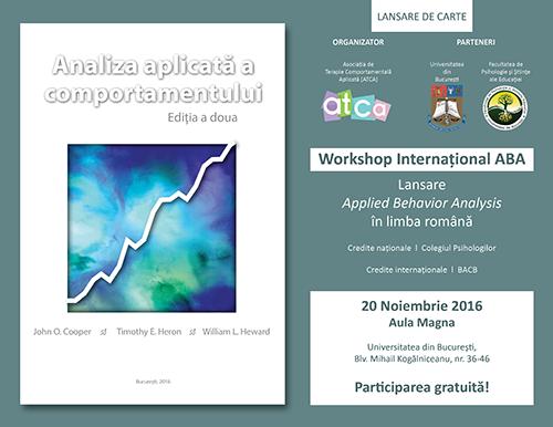 """Workshop internațional """"Applied Behavior Analysis"""" la Facultatea de Psihologie și Științele Educației"""