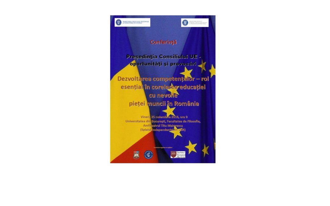 """Facultatea de Filosofie organizează conferința """"Președinţia Consiliului UE – oportunităţi şi provocări"""""""