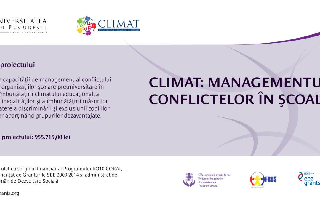 """Conferința de închidere a proiectului """"CLIMAT: Managementul conflictelor în școală"""" la Universitatea din București"""