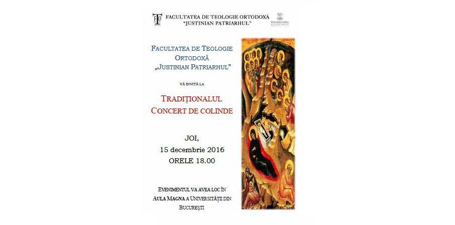 Concert tradițional de colinde susținut de corul Facultății de Teologie Ortodoxă a Universității din București