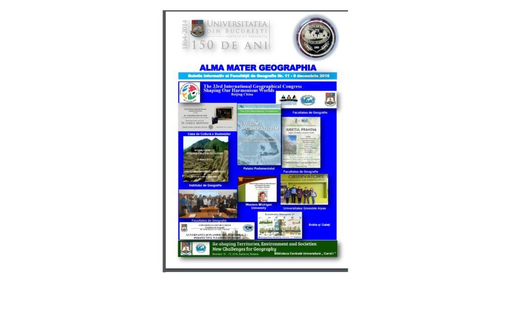 """Buletinul informativ """"Alma Mater Geographia"""" a ajuns la numărul 11"""