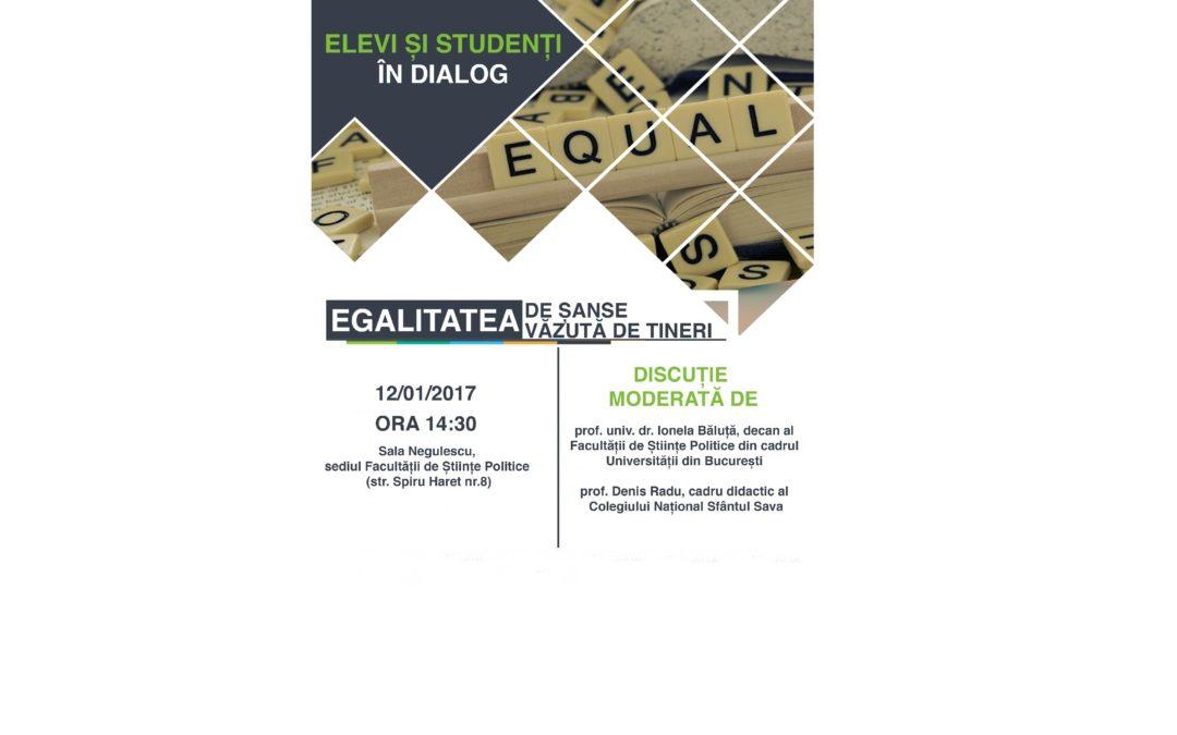 """Dezbaterea """"Egalitatea de șanse văzută de tineri"""" la Facultatea de Științe Politice"""