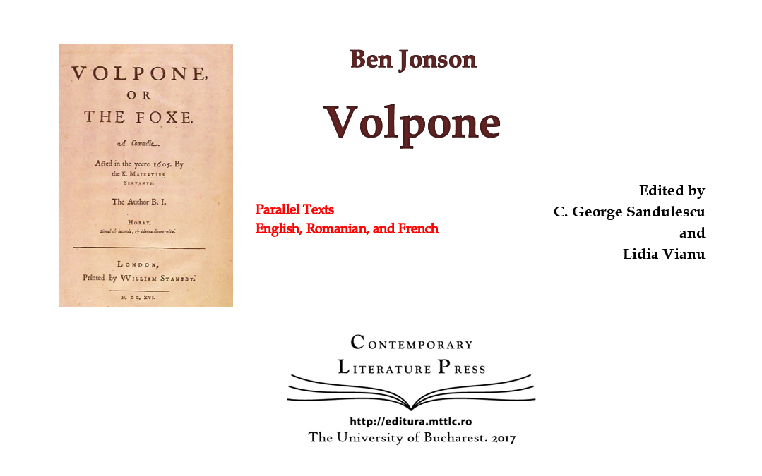 "Lansarea volumului ""Ben Jonson Volpone"" la Contemporary Literature Press"