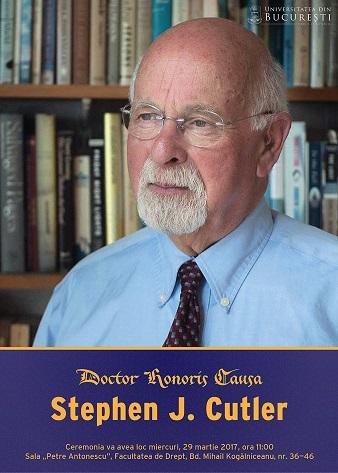 Profesorul Stephen J. Cutler, de la Universitatea din Vermont, primește distincția de Doctor Honoris Causa al Universității din București