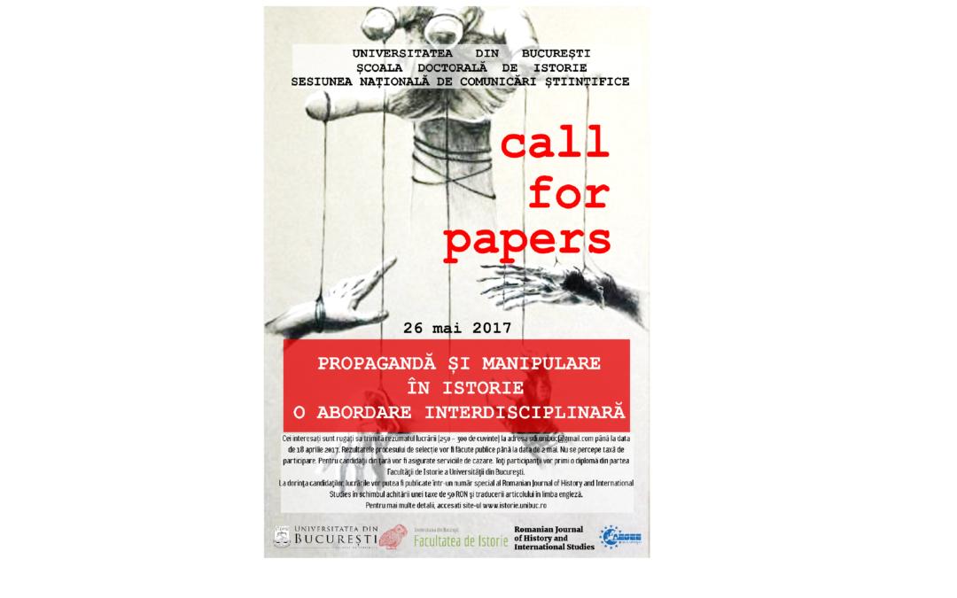"""Conferința """"Propagandă și manipulare în istorie – o abordare interdisciplinară"""" – apel la contribuții"""