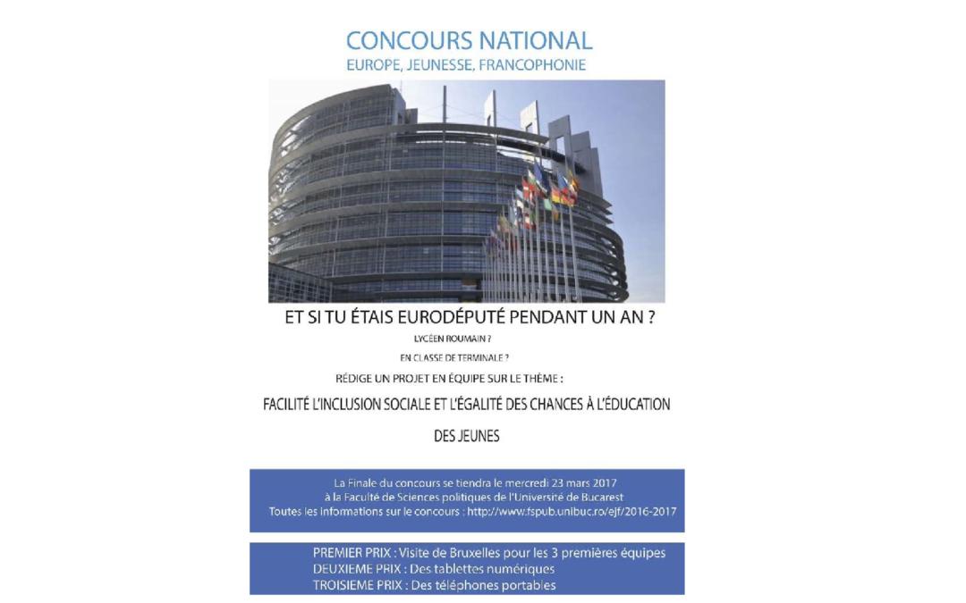 """""""Europe, Jeunesse, Francophonie"""" – concurs francofon pentru liceeni la București organizat de Facultatea de Ştiințe Politice"""