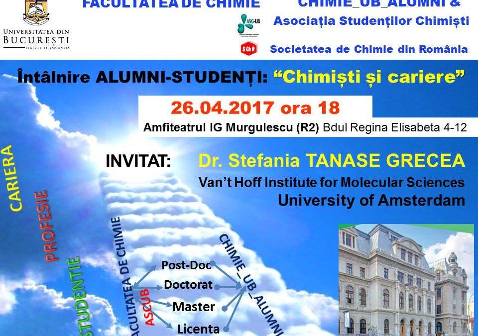 """Cea de-a 7-a întâlnire ,,Alumni-Studenți"""", organizată în cadrul proiectului """"Chimiști și Cariere"""", la Facultatea de Chimie"""