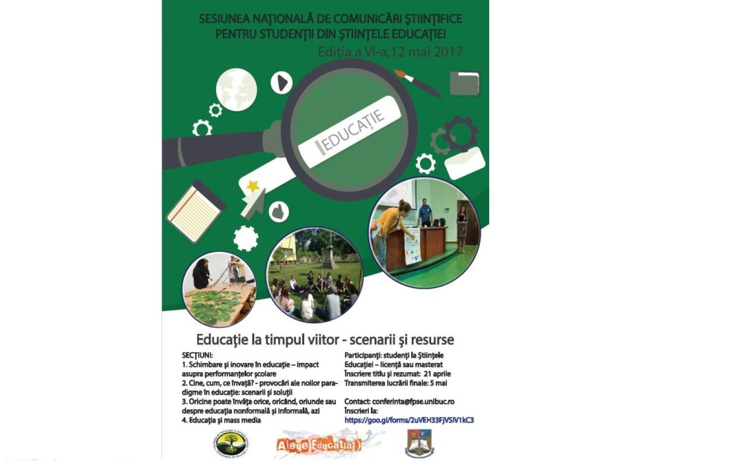 Cea de-a VI-a ediție a sesiunii naționale de comunicări științifice pentru studenții Facultății de Psihologie și Științele Educației – apel la contribuții