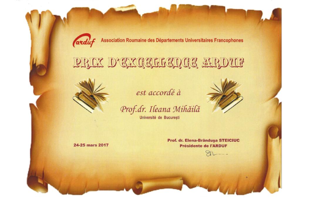 Prof. univ. dr. habil. Ileana Mihăilă a primit premiul de excelență al Asociației Române a Departamentelor Universitare Francofone