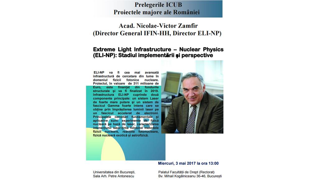 """Proiectul """"Extreme Light Infrastructure – Nuclear Physics (ELI-NP): Stadiul implementării şi perspective"""" la Universitatea din București"""