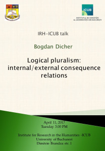 "Bogdan Dicher va susține prelegerea ""Logical pluralism: internal/external consequence relations"" la Institutul de Cercetare al Universității din București"