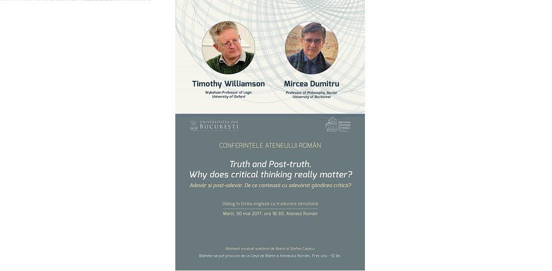 Despre adevăr, relativitatea moralei și democrație în dialogul dintre Mircea Dumitru și Timothy Williamson