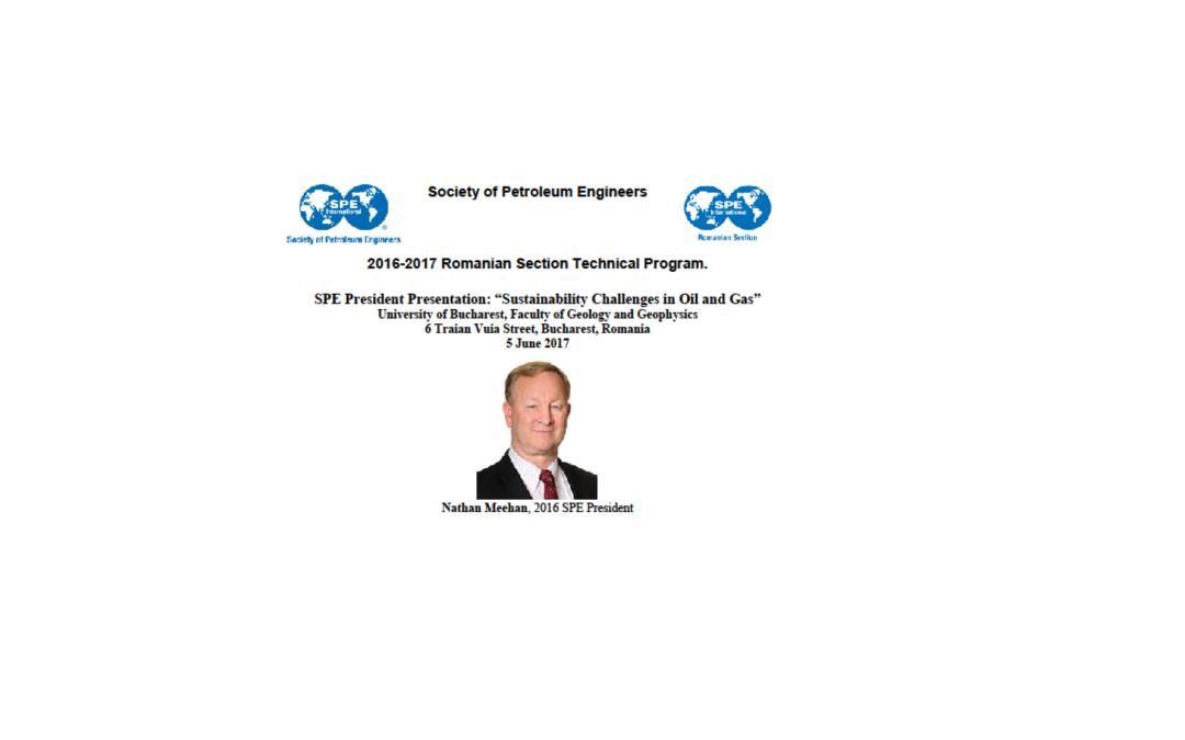 """Dr. Nathan Meehan va susține prelegerea """"Sustainability Challenges in Oil and Gas"""" la Facultatea de Geologie și Geofizică"""