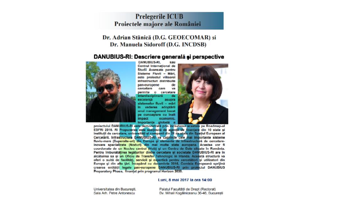 """Seminar cu tema """"DANUBIUS-RI: Descriere generală şi perspective"""" la Secția de Științe Exacte a Institutului de Cercetare al Universității din București"""