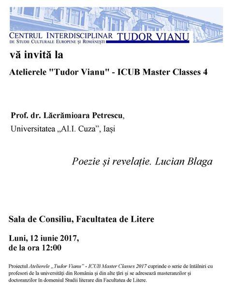"""Cea de-a patra întâlnire din cadrul atelierelor """"Tudor Vianu"""" – ICUB Master Classes la Universitatea din București"""
