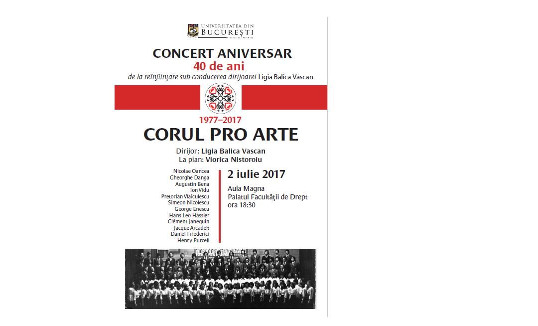 Concert aniversar – Corul Pro Arte al Universității din București reunește mai multe generații de studenți la 40 de ani de la reînființare