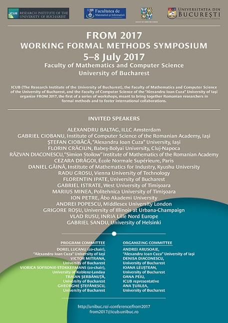 """Conferinţa """"Working Formal Methods Symposium – FROM 2017"""" la Facultatea de Matematică şi Informatică a Universității din București"""
