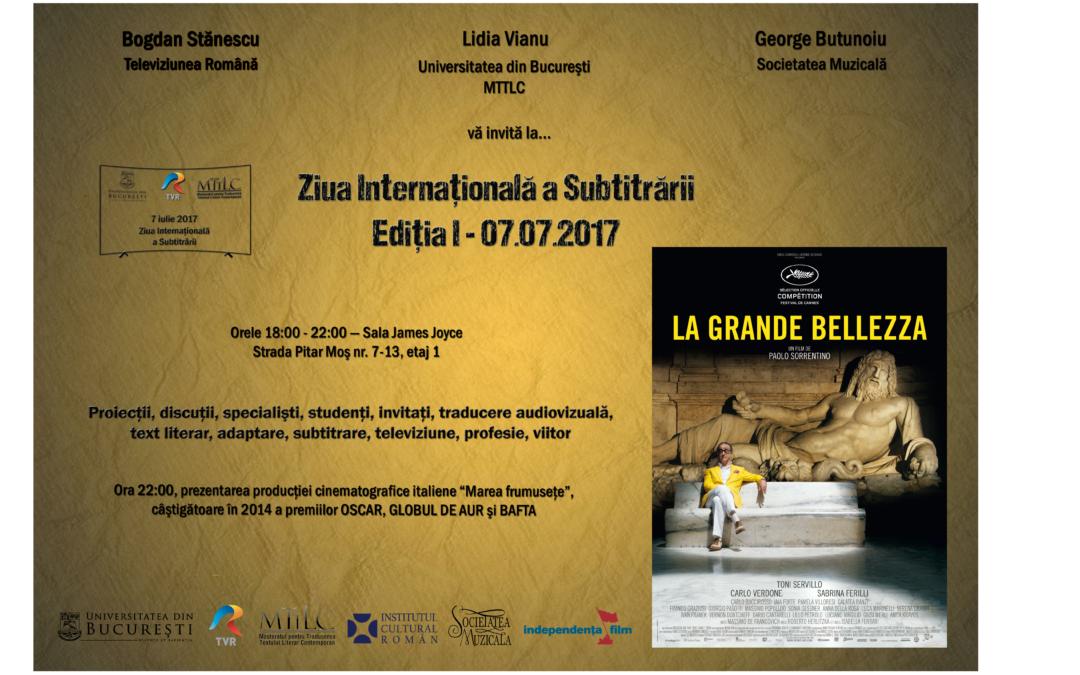 Ziua Internațională a Subtitrării la Facultatea de Limbi și Literaturi Străine a Universității din București