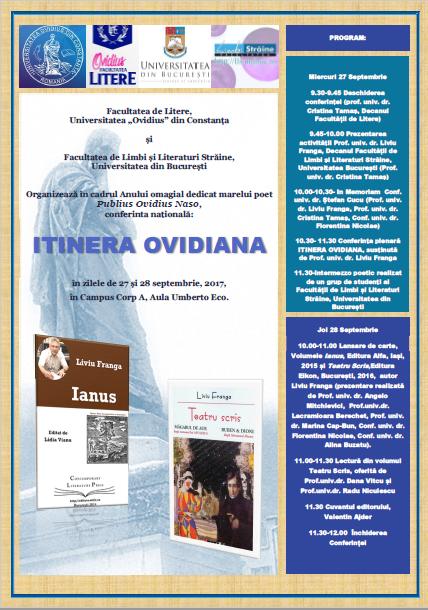 """Prof. univ. dr. Liviu Franga participă la conferința națională ,,Itinera Ovidiana"""" de la Universitatea ,,Ovidius"""" din Constanța"""