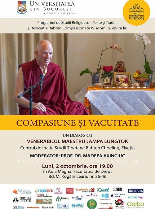 Compasiune și vacuitate, concepte explicate de maestrul Jampa Lungtok într-un dialog la Universitatea din București