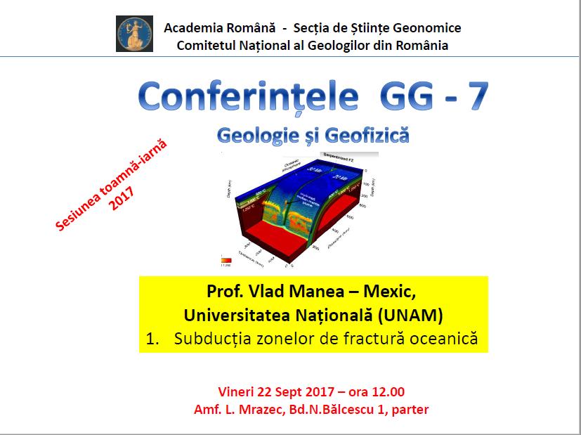 """Prelegerea ,,Subducția zonelor de fractură oceanică"""" la Facultatea de Geologie și Geofizică"""