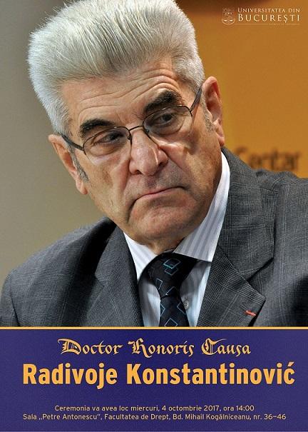 Radivoje Konstantinović, critic și teoretician literar al traducerii, primește distincția de Doctor Honoris Causa al Universităţii din Bucureşti