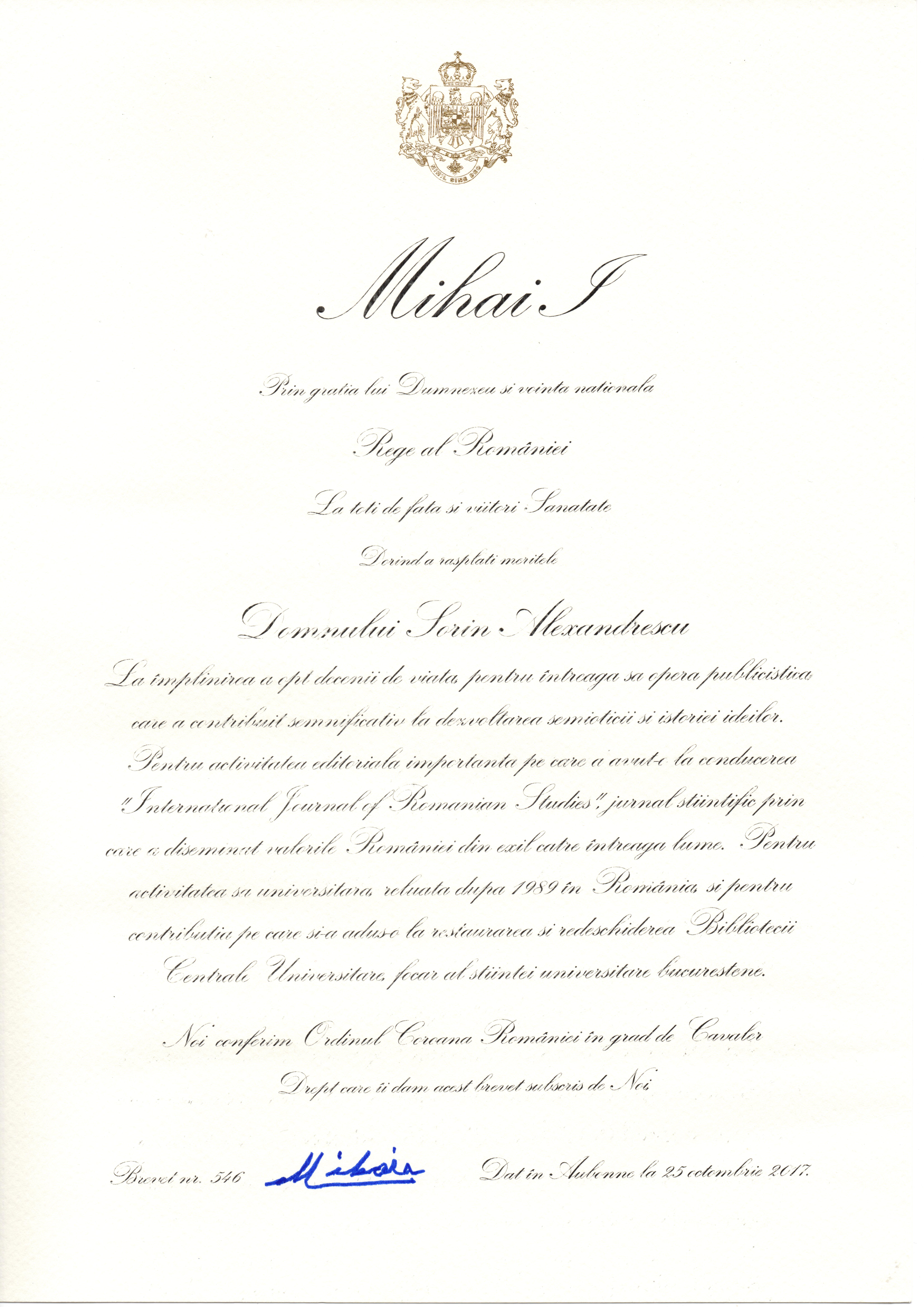 diploma-ordin-coroana-romaniei-in-grad-de-cavaler-sorin-alexandrescu-2017