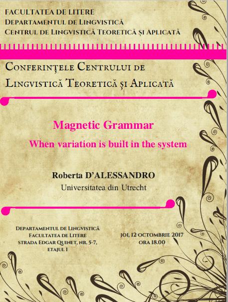 Roberta D'Alessandro va susține o serie de conferințe de lingvistică la Universitatea din București