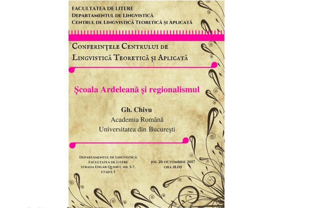 """Prelegerea """"Școala Ardeleană și regionalismul"""", susținută de Gheorghe Chivu, profesor emerit al Facultății de Litere din cadrul Universității din București"""