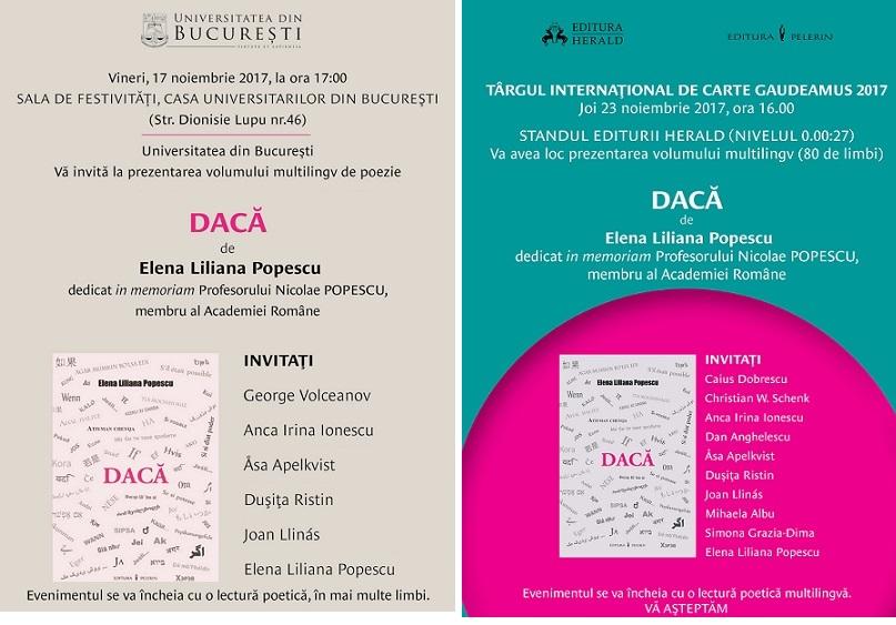 """Lansarea volumului multilingv de poezie """"DACĂ"""", de prof. univ. dr. Elena Liliana Popescu"""