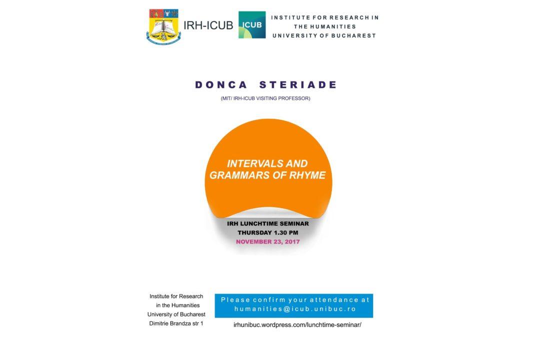 """Donca Steriade va susține seminarul """"Intervals and grammars of rhyme"""" la ICUB"""