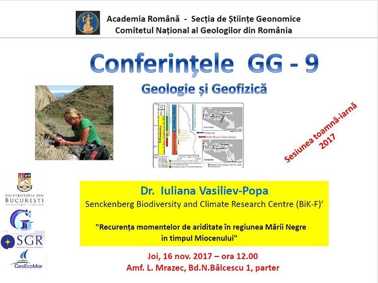 """""""Recurența momentelor de ariditate în regiunea Mării Negre în timpul Miocenului"""", tema conferinței GG – 9"""