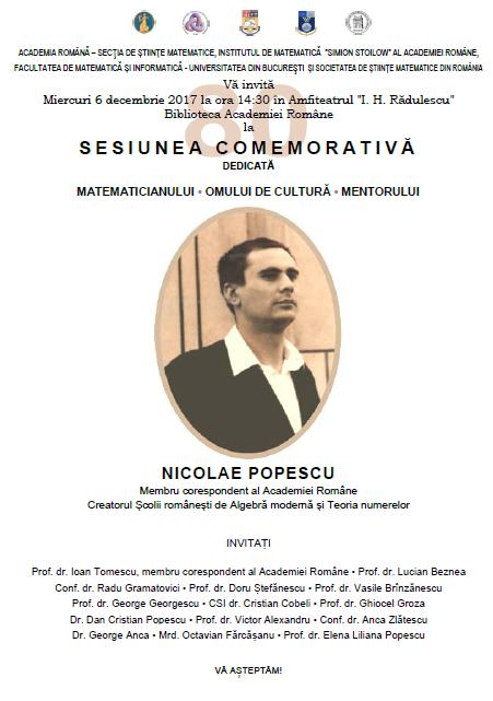Sesiune comemorativă dedicată matematicianului, omului de cultură și mentorului Nicolae Popescu