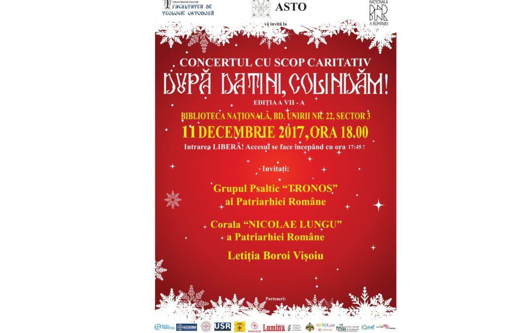 """,,După datini, colindăm!"""" – concert de colinde cu scop caritativ, organizat de Asociația Studenților Teologi Ortodocși a Universității din București"""