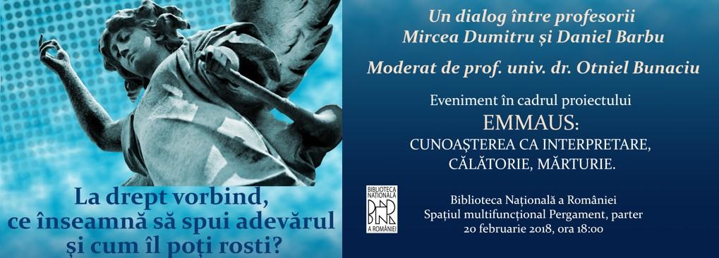 Despre adevăr, un dialog între profesorii Mircea Dumitru şi Daniel Barbu la Biblioteca Națională a României